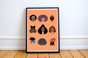 Black Hair Magic (Orange) Art Print