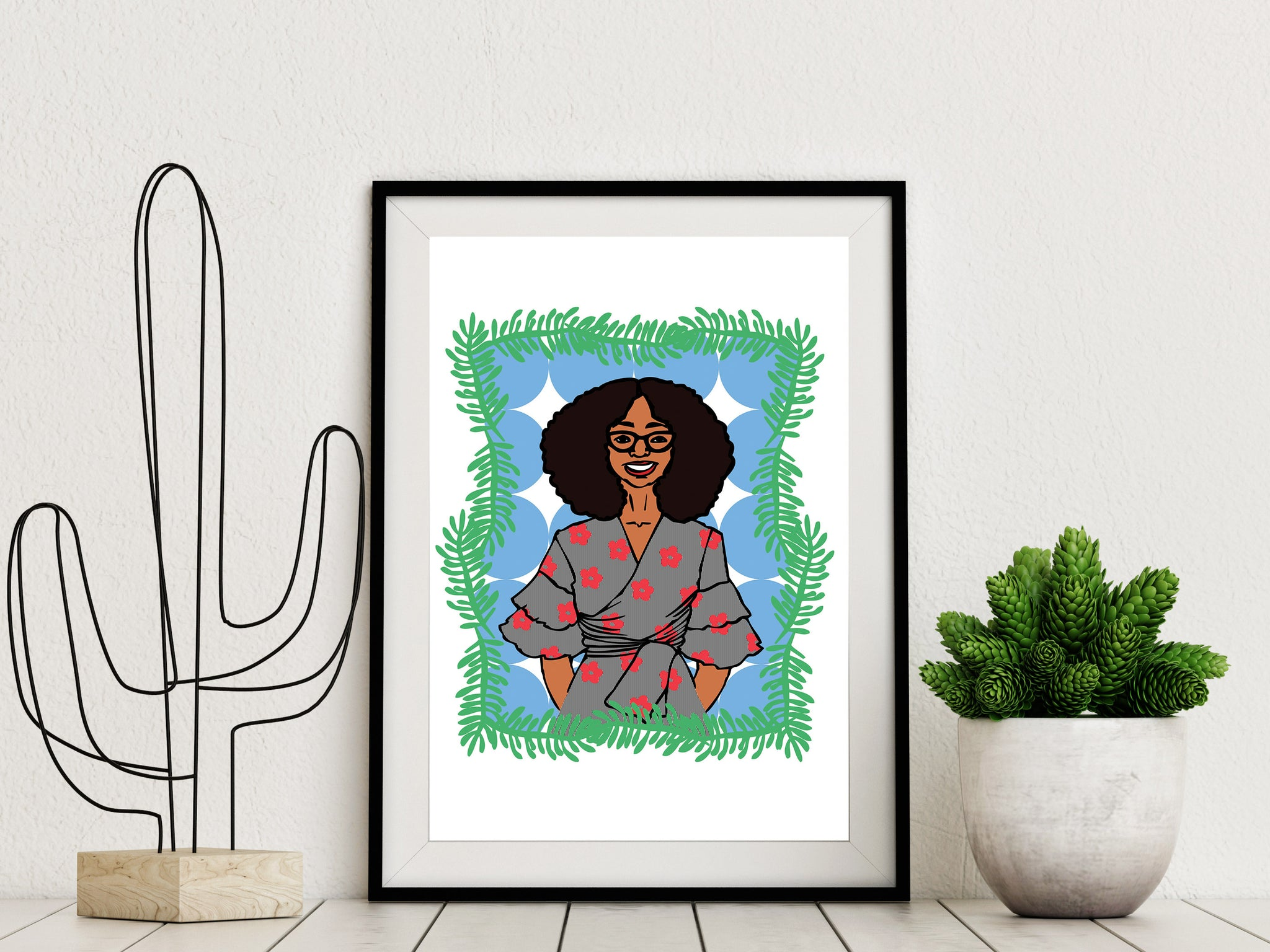 Framed Custom Personal Illustrated Portrait Gift for Loved One by DorcasCreates