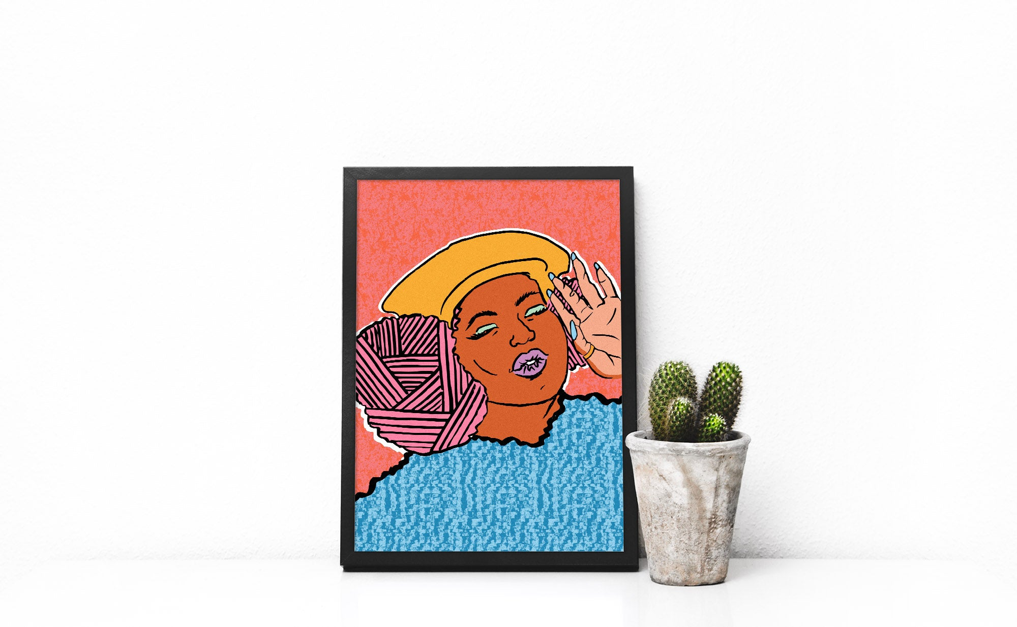 Framed Destiny Illustration of a black woman with pink afro by dorcascreates