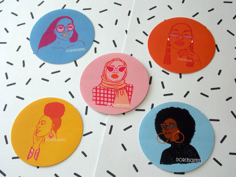 Babes of Summer Sticker Pack - Pack of 5 Round Stickers