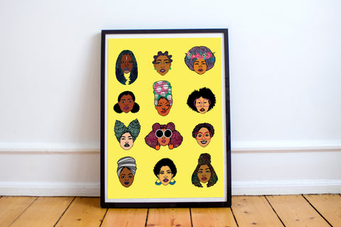 Black Hair Magic Art Print