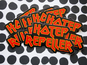 glossy sticker of Hotep Repeller in red and yellow heavy metal inspired font by DorcasCreates