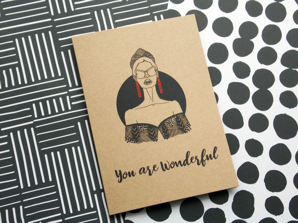 Kraft self care greeting card of illustration of black woman with text you are wonderful by dorcascreates