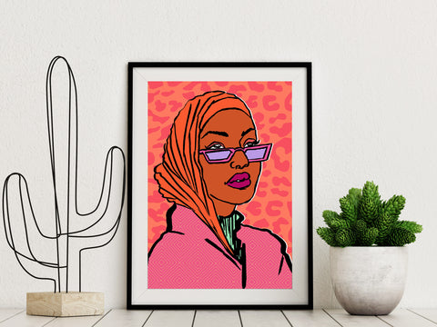 Framed art print of a Black Muslim woman wearing Hijab illustrated by DorcasCreates