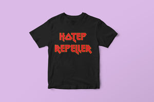 black t-shirt with hotep repeller written in red and yellow heavy metal style font by DorcasCreates