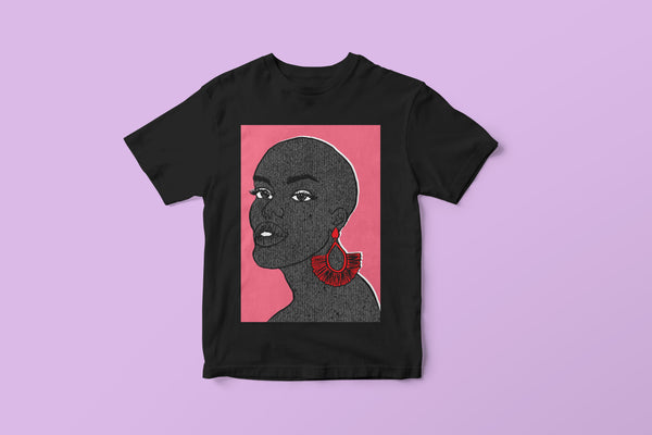 black t-shirt with graphic illustration of a bald black woman against pink background by DorcasCreates