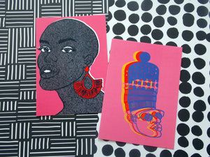 Postcard set featuring illustrations of black woman and black man against pink background by Dorcascreates