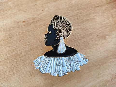 black and white black art enamel pin by dorcascreates