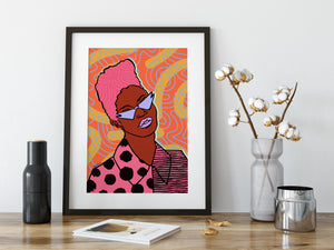 Roxanne Art Print - Orange Pattern Colourway