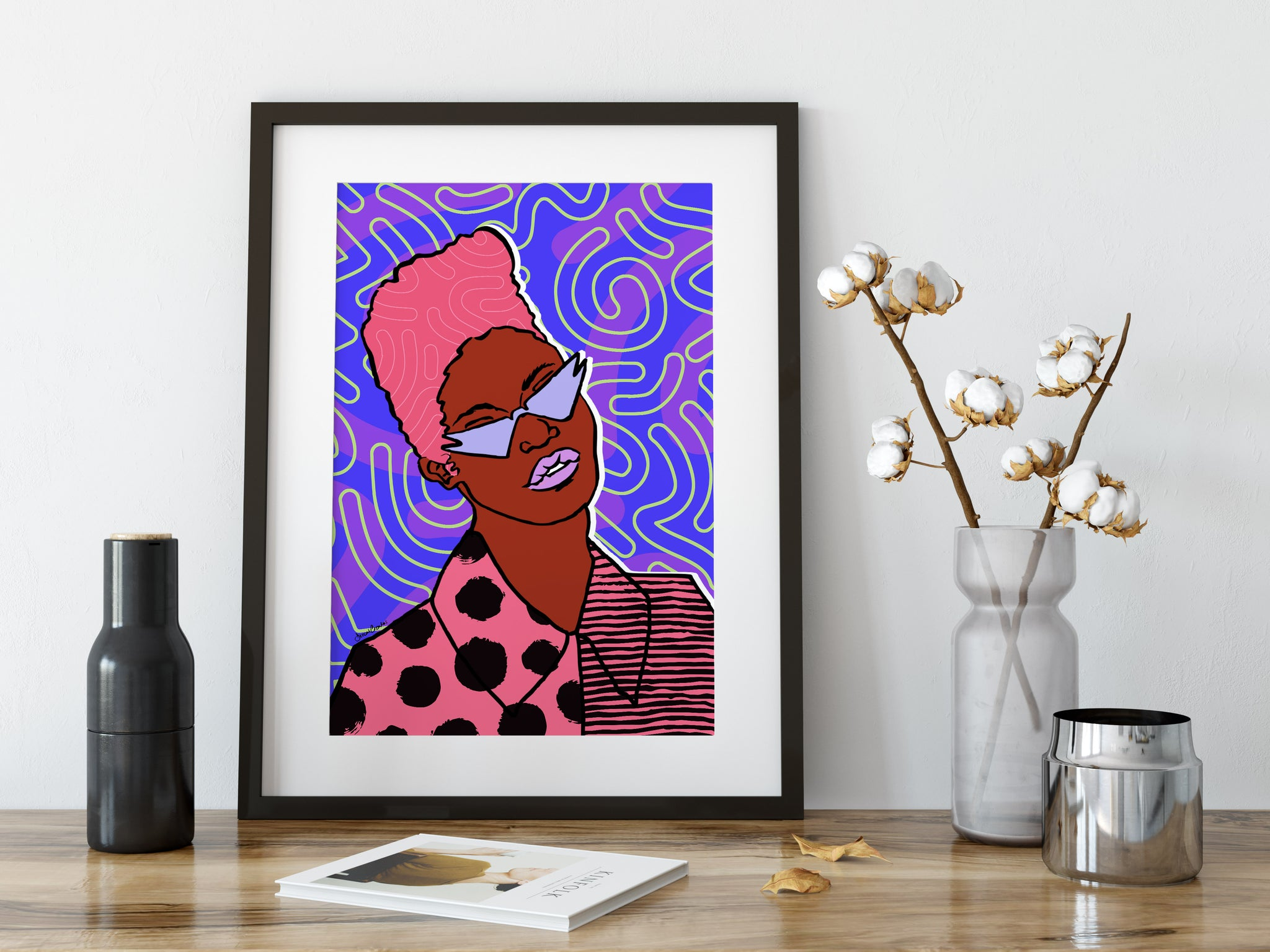 Roxanne Art Print - Purple Pattern Colourway