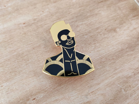 gold plated black man art pin by dorcascreates
