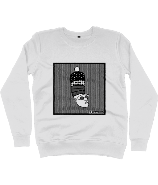 Off White Sweatshirt featuring illustration of black man with large afro by DorcasCreates