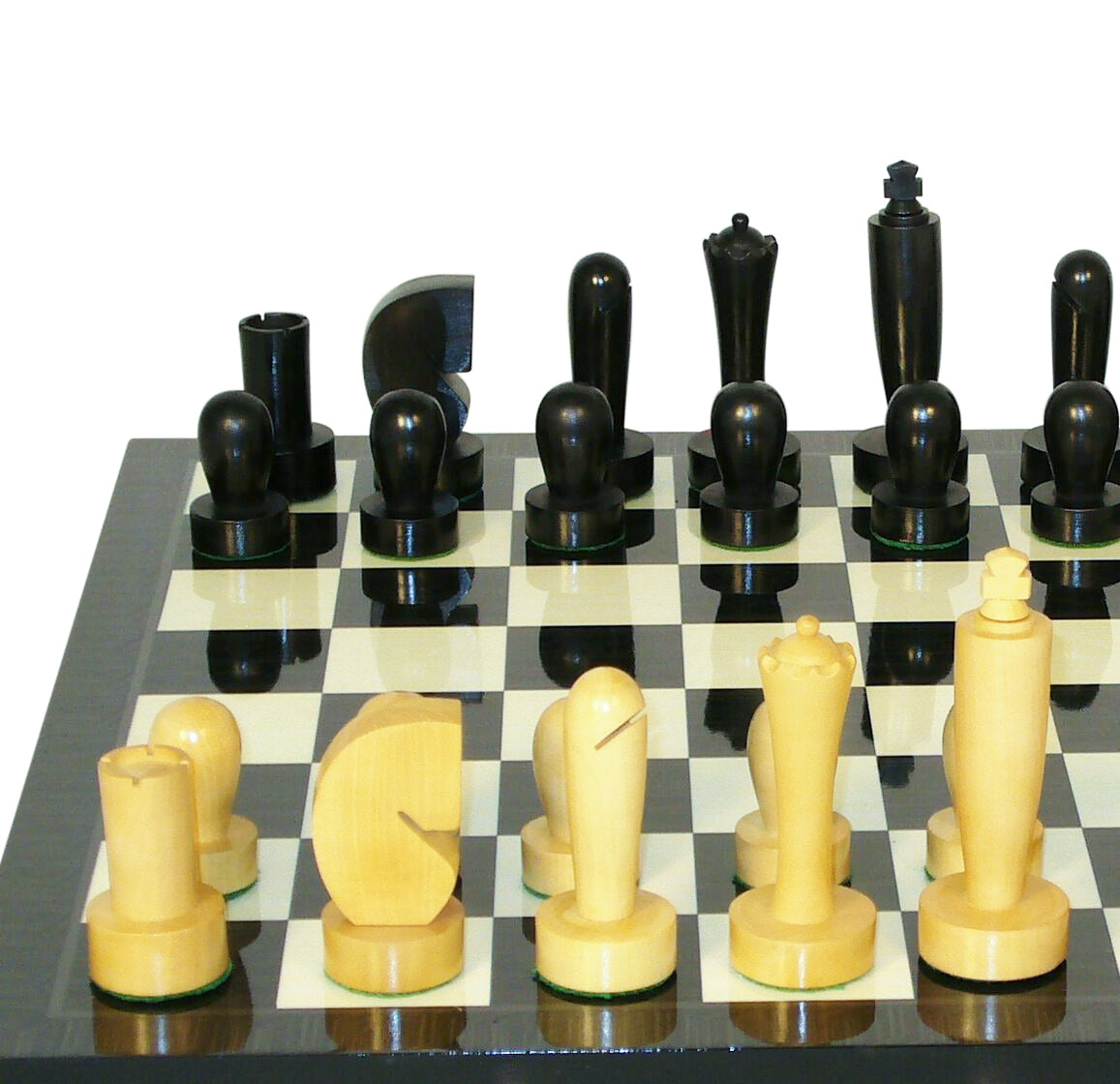 Unique Boxwood Chess Set, Decoupage Chess Board and Modern Chess Pieces