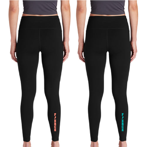 FIERCE HOCKEY | Ladies Poly Leggings (Coral or Teal Imprint)