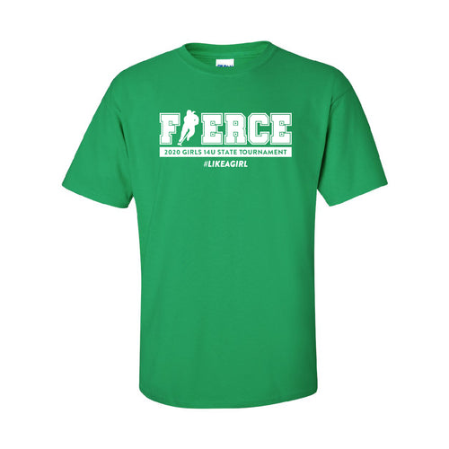 FIERCE HOCKEY | Green T-shirt (White Imprint Color)