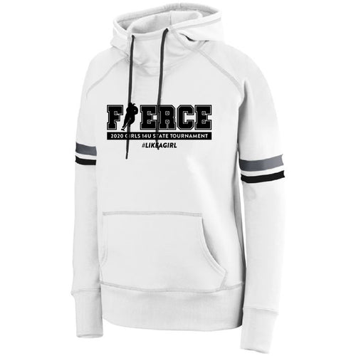 FIERCE HOCKEY | Ladies White Hoodie (Black, Coral, or Teal Imprint)