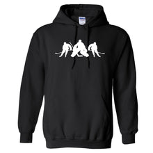 Load image into Gallery viewer, Hockey Player GILDAN HOODED SWEATSHIRT +more color options