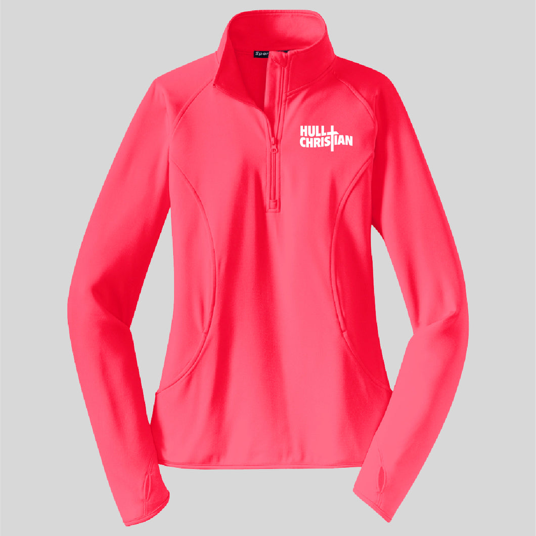 HCS EMBROIDERED Sports Tek POLY LADIES Pullover HOT CORAL