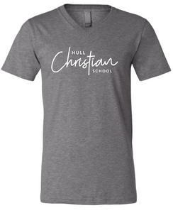 Hull Christian Script Graphic Tee Grey - V-neck or Crew
