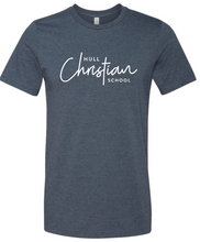 Load image into Gallery viewer, Hull Christian Script Graphic Tee Navy - V-neck or Crew