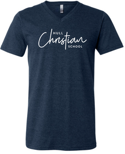 Hull Christian Script Graphic Tee Navy - V-neck or Crew