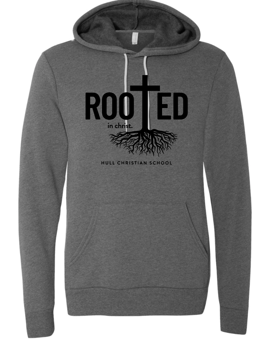 Rooted in Christ Bella + Canvas Sweatshirt DEEP HEATHER Hull Christian School