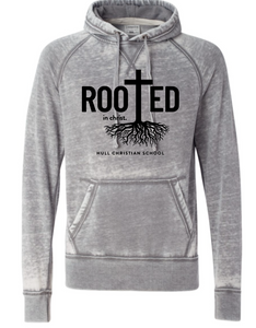 Rooted in Christ J America Soft Hooded Sweatshirt Cement