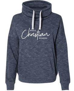 Hull Christian School J. America Cowl Neck Ladies Cut Hoodie Script - Navy