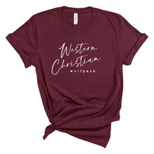 Load image into Gallery viewer, Short Sleeve T-Shirt (Heather Black or Maroon) | Western Christian Script