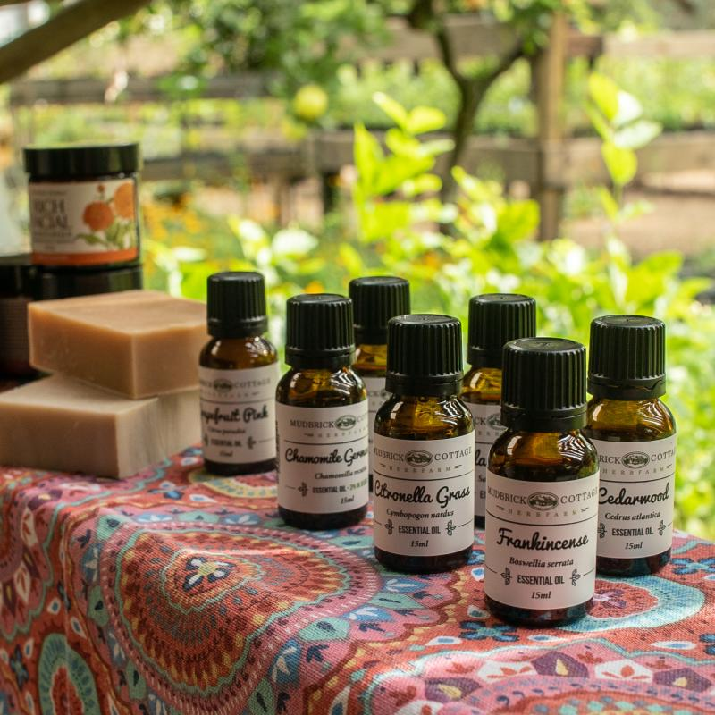 essential oils and soap on display