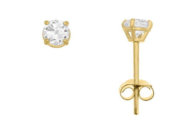 10K Yellow Gold Round 3mm White CZ Basket Earrings with Butterfly Gold Clutch