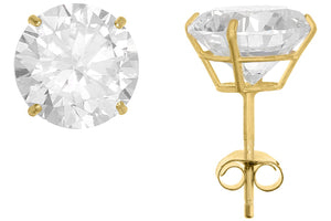 10K Yellow Gold Round 8mm White CZ Basket Earrings with Butterfly Gold Clutch