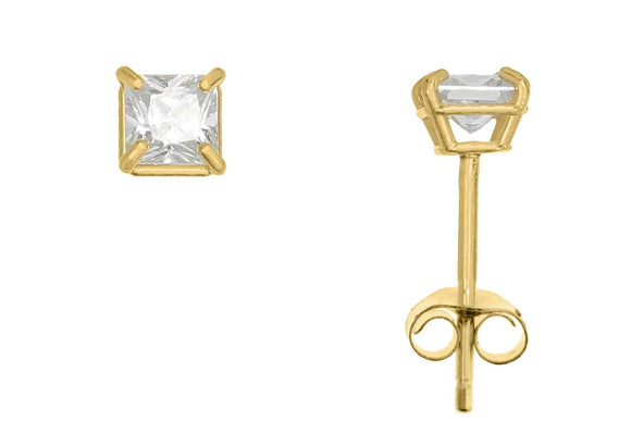 10K Yellow Gold Square 3mm White CZ Basket Earrings with Butterfly Gold Clutch