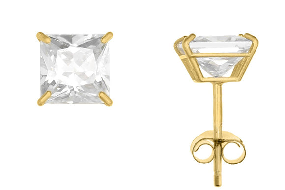 10K Yellow Gold Square 5mm White CZ Basket Earrings with Silicon & Gold Clutch