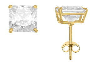 10K Yellow Gold Square 6mm White CZ Basket Earrings with Butterfly Gold Clutch