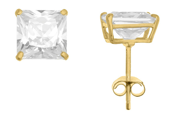 10K Yellow Gold Square 6mm White CZ Basket Earrings with Silicon & Gold Clutch