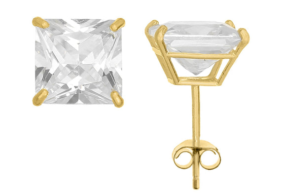 10K Yellow Gold Square 7mm White CZ Basket Earrings with Silicon & Gold Clutch