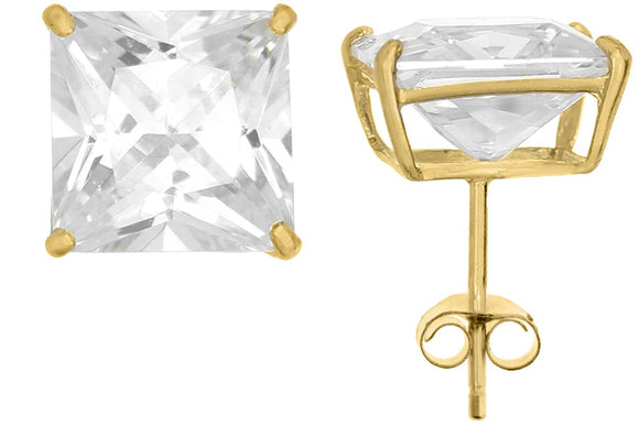 10K Yellow Gold Square 8mm White CZ Basket Earrings with Silicon & Gold Clutch