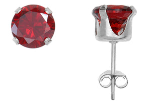 Silver 925 Round 6mm Red CZ Snap Earrings with Butterfly Silver Clutch