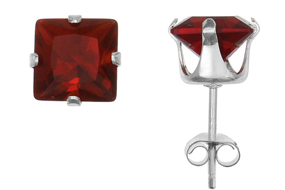 Silver 925 Square 6mm Red CZ Snap Earrings with Butterfly Silver Clutch