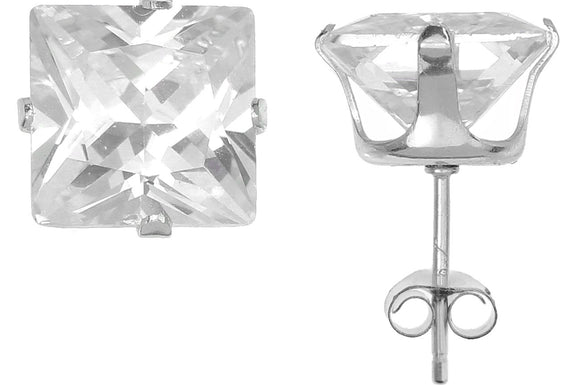Silver 925 Square 8mm White CZ Snap Earrings with Butterfly Silver Clutch