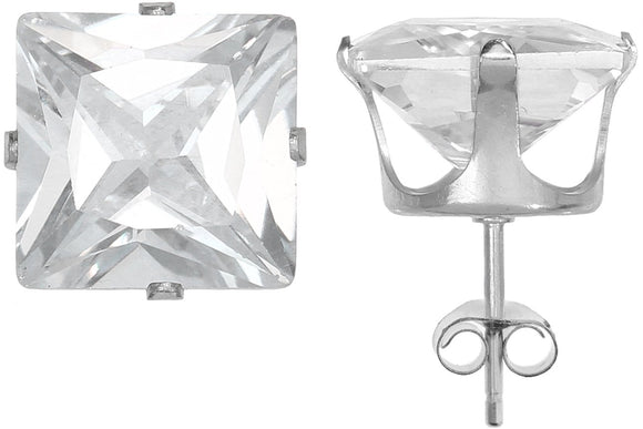 Silver 925 Square 9mm White CZ Snap Earrings with Butterfly Silver Clutch