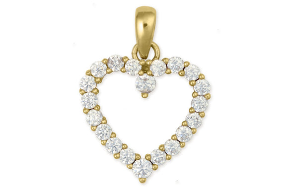 14K Yellow Gold Heart Pendant With 2.6mm with Cubic Zirconias