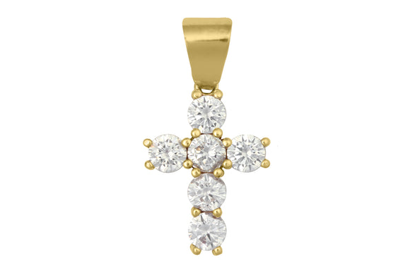 14K Yellow Gold Cross Pendant with White Cubic Zirconia