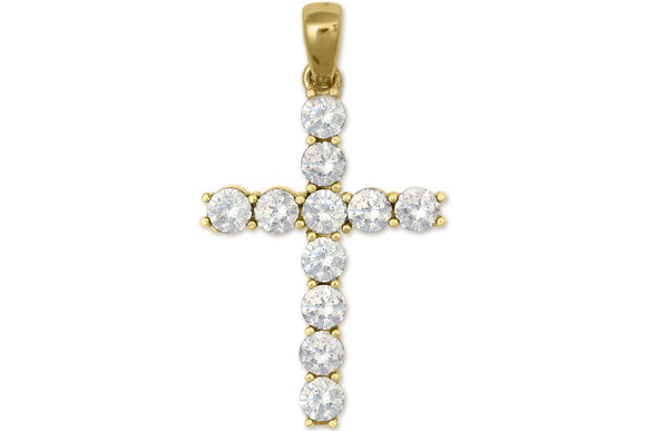 10K Yellow Gold Cross Pendant with White Cubic Zirconia