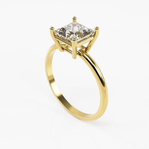 10K Yellow Gold Ring with Square White Cubic Zirconia