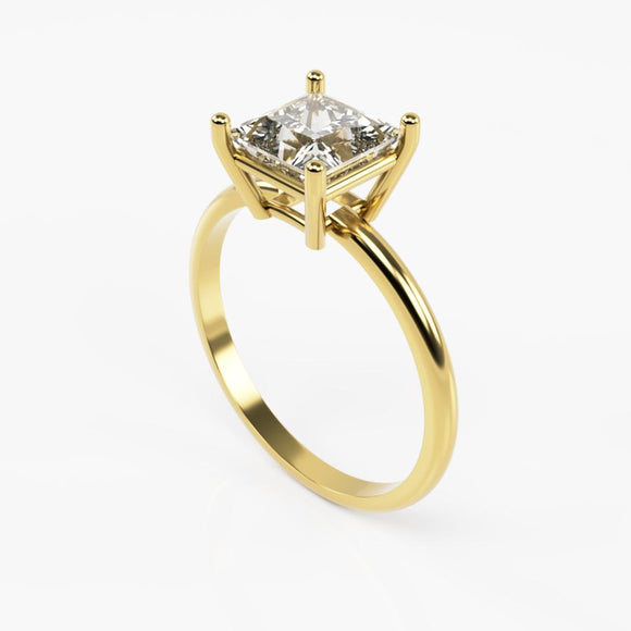 10K Yellow Gold Ring with Square Cubic Zirconia