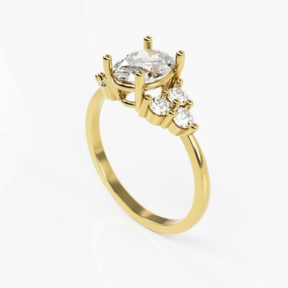 10K Yellow Gold Ring with Three Stone Oval Cubic Zirconia