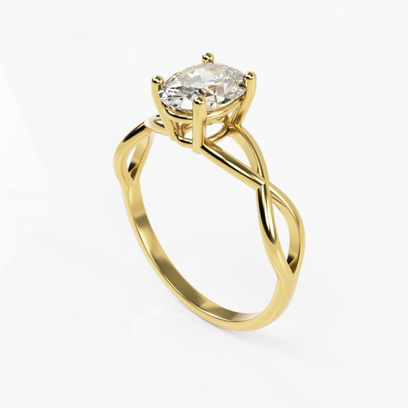 10K Yellow Braided Gold Ring with Oval Cubic Zirconia