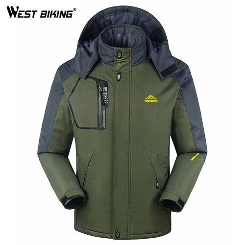 WEST BIKING Winter Men Fleece Windbreaker Outdoor Sport Hooded Windproof Waterproof Warm Cycling Hiking Camping Climbing Jacket